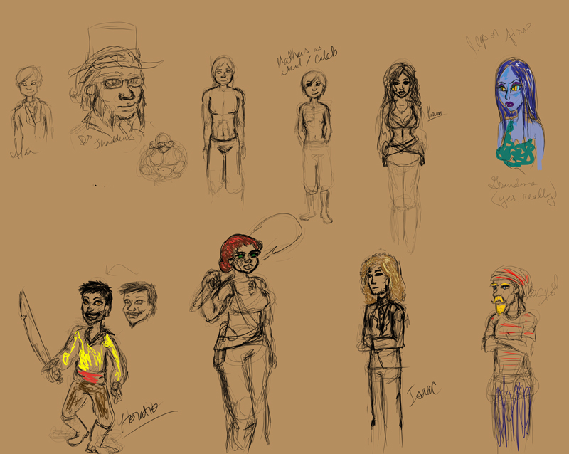 Pirate Project character sketches 7/20/2011